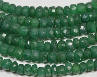 Emerald  4x2.5mm 4 inch Strand Faceted Rondelle Beads Natural Gemstone Beads Jewelry Making Supplies Emerald Beads
