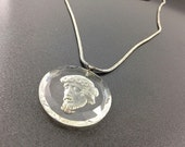 Pretty Swarovski Crystal Religious Necklace, Reversed Glass Carved Jesus on Chain. Intaglio