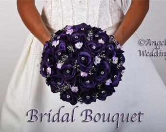 ANGELICA PURPLE Wedding Bouquet Package Bridal Bridesmaid Groom Boutonnieres Corsages Keepsake Bouquets Roses Silk Floral Custom Flowers