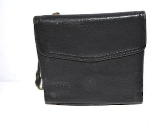 Vintage black leather wallet organizer Fossil  Vintage  Multi Pocket Wallet Coin Purse Unisex mens wallet