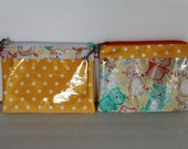 Clear Front Pouch Bag Cosmetic Medical Travel First Aid Organizer Pouch, Zipper Top Diaper Bag Pouch Yellow Polka Dot and Bear, Set of Two