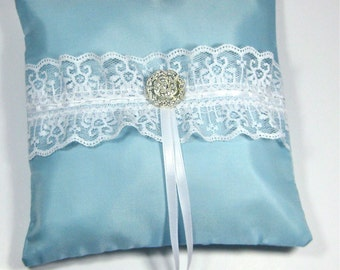 Aqua Blue Ring Bearer Pillow trimmed with white lace and rhinestone, something blue ring bearer pillow. turquoise wedding pillow
