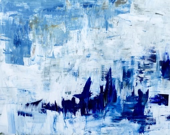 Original Blue and White Abstract Painting, Large Abstract Art, Wall Decor by Laney Espenlaub