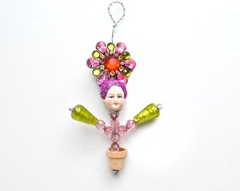 Flower Child, a handmade ORIGINAL art doll ornament, mixed media assemblage,   by Elizabeth Rosen