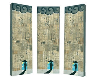 8 x 24 ORIGINAL PAINTING, collage art, mixed media painting, umbrella city NYC rain art madmen 'Lucky' by Elizabeth Rosen