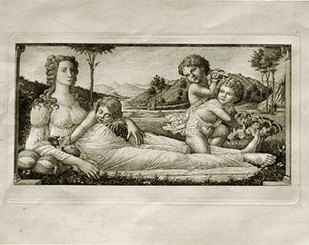 Antique Etching Artwork - Venus Reclining, With Cupids by GW Rhead after S - Black White Illustration for Home Decor