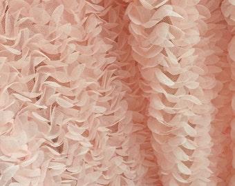 Peach pink chiffon rosette fabric