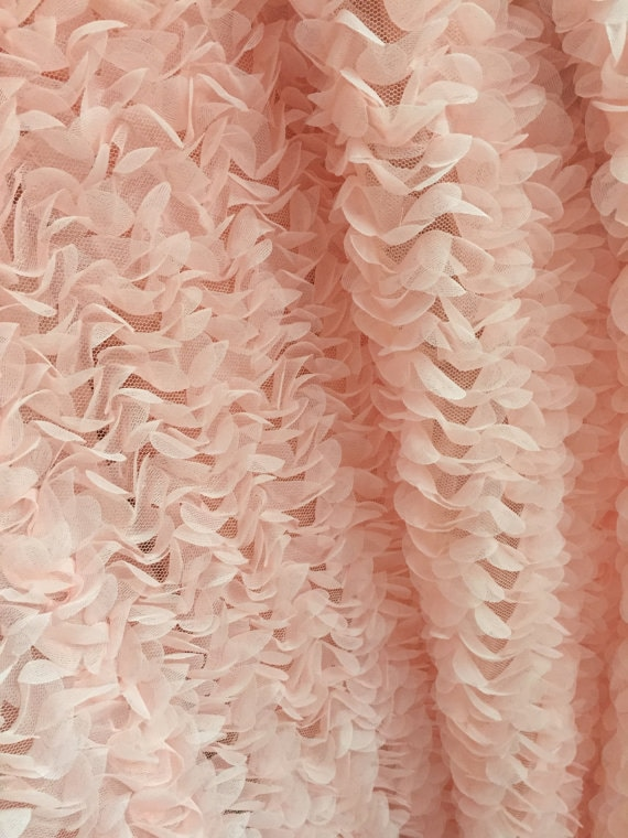 Peach pink chiffon rosette fabric from weddingbysophie on for Patterned material for sale