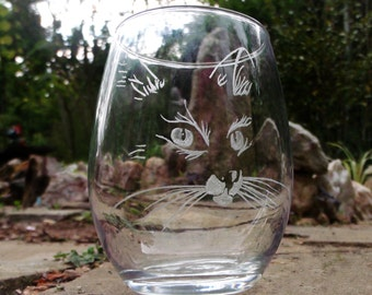 Engraved Stemless cat wine glasses  , unique glass set , barware set of two cat lovers gift ideas kittens pussy cat