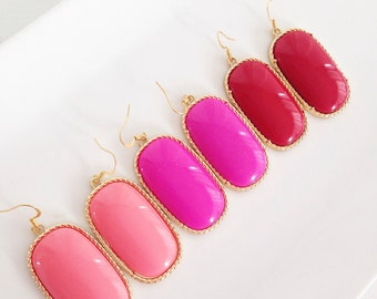 Colored Statement Earrings set in gold