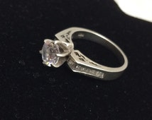 Antique Engagement Ring Size 6., Clear C Z Vintage Sterling Silver, Stamped .925, Item No. S181