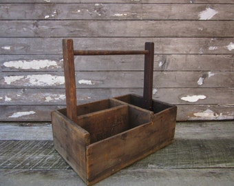 Antique Wood Box Handled Industrial Carrying Hod Tools Nails Home Made Handled Storage Wood Box Primitive Rustic 1900s Vintage Wooden Crate