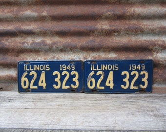Vintage License Plate Illinois 1949 Matched set of 2 Blue & Yellow 1940s Era Car Truck Automobile Rusted and Naturally Distressed Man Cave