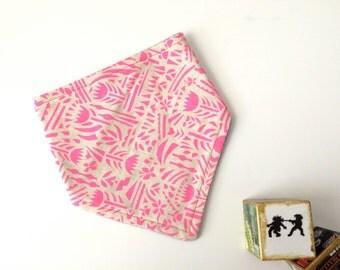 Bandana Bib - Hot Pink and Natural Floral Tribal