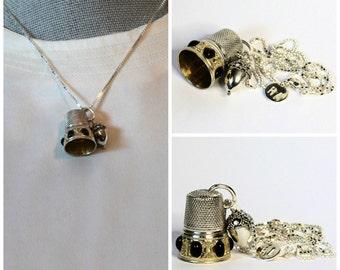 Antique Thimble and Acorn Peter Pan Necklace Hidden Kisses
