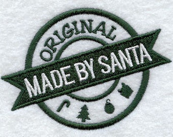 Made By Santa Applique Embroidered Patch, Sew or Iron on