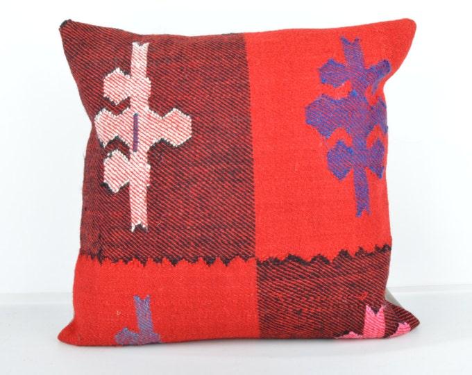 Kilim pillow, Kilim Pillow Cover k446, Turkish Pillow, Kilim Cushions, Bohemian Decor, Moroccan Pillow,  Bohemian Pillow, Turkish Kilim