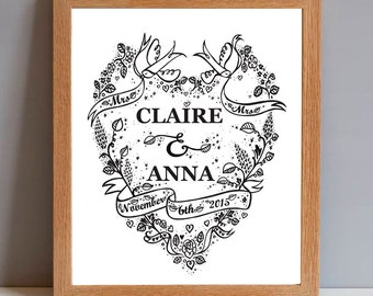 Personalized Mrs & Mrs Wedding Name and Date, Personalised Wedding Gift Print