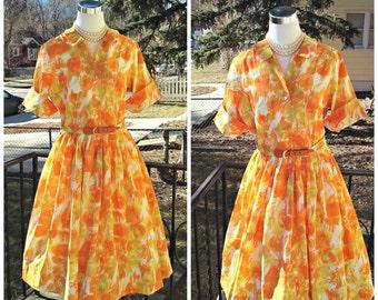 Vintage 1950s 1960s Orange Yellow Shirtwaist Dress Abstract Print Medium VLV Mad Men Mod