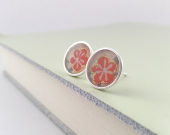 Sterling Silver Studs, Tiny round earrings, coral blossom studs, flower studs, Small Silver Studs, resin earrings, Dainty 925 8mm studs