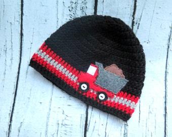 Dump Truck Crochet Boy Hat with Felt Appliqué, Baby Beanie, Winter Hat, Truck Hat, Crochet Boy Hat, Dump Truck Baby Hat, Country Boy Hat