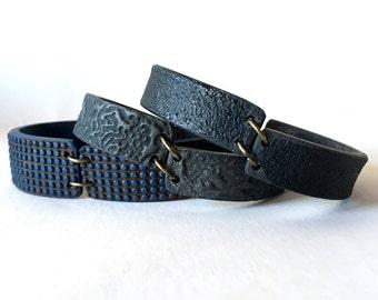 Jeans Bracelet, Denim Cuff, Clay Hipster Bracelet, Indigo, City, New York Style, Casual wear, Zen, Minimalist, Concrete, not Leather cuff