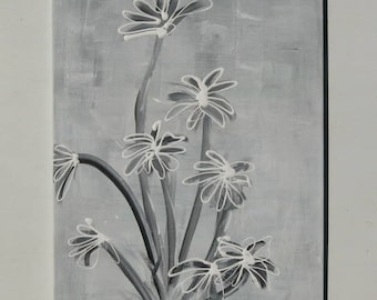 Large Painting, Original painting, Abstract Painting- Trending- Black and White Flowers
