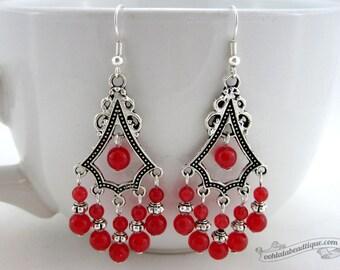 Red ruby earrings red chandelier earrings boho dangles gypsy earrings, hippie earrings birthstone jewelry, long earrings, gift for her