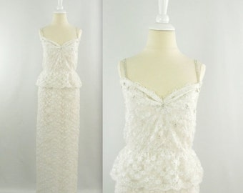 ON SALE Bombshell Wedding Dress - Vintage 1960s White Lace Wiggle Wedding Gown w/ Peplum - Small by Pegi