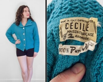 Wool Cecile Cardigan 1960s Turquoise Blue Sweater Abalone Buttons