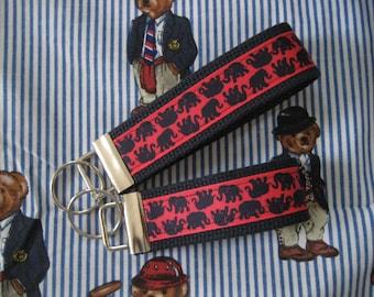 "Lilly Pulitzer inspired ""Tusk in Sun"" Grosgrain ribbon key fob - Key chain wristlet - 2 sizes"