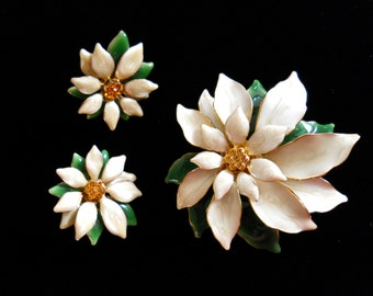 Flower Brooch & Pierced Earring Set Cream and Green Enamel and Amber Rhinestone Vintage Jewelry Set Demi Parure