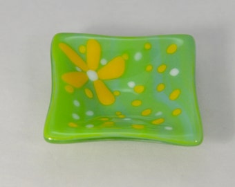 Small Fused Glass Dish, Lime Green Swirl with Yellow Flower Square Ring Dish, Condiment Dish