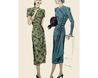 1940s Style Gathered Wrap Sarong Dress Custom Made in Your Size From a Vintage Pattern