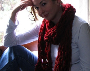 Large Cozy Red Infinity Scarf