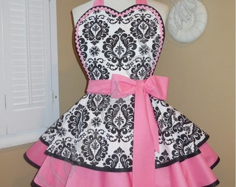 Damask Print Retro Apron Accented With Candy Pink Featuring Heart Shaped Bib