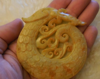 """Yellow Jade Dragon pendant/ paperweight 3"""" from the fire comes life dragons protect their eggs from harm by encircling them in fire"""