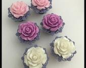 PICK SIZE & Color Pastel Rose Spring Gauge Plug Earrings
