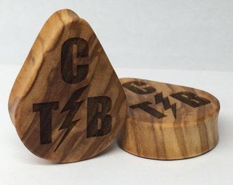 "Olivewood ""TCB"" Tear Drop Wood Laser Engraved Plugs"