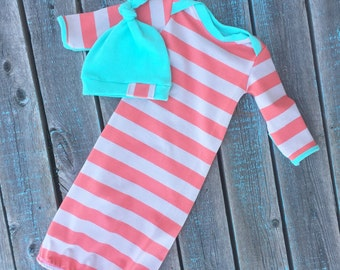 Striped Baby Boy Gown with Hat