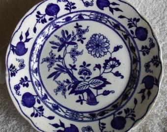 Flow Blue Dessert Plate, S Hancock and Sons Dresden pattern, stoke-on-trent England, Castle Hallmark....