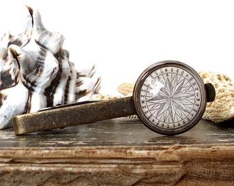 Compass Tie Clip - Antique Nautical Print Tie Bar in Brass - Pirate Jewelry