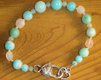 Romantice Amazonite & Rose Quartz Bracelet with Decorative Heart Clasp In Time for Valentines Day Cool Minty Green and Soft Pink Gemstones