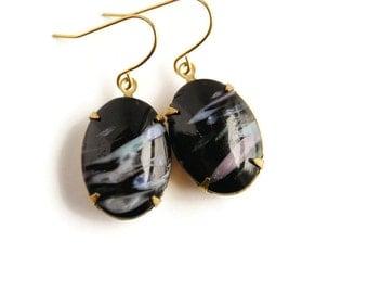 Simple Earrings - Black Marbled Stone Earrings