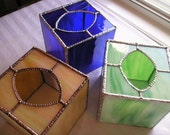 Stained Glass Tissue Box Cover|Home Decor|Bathroom Decor|Bedroom Decor|Cobalt|Green|Yellow|Handcrafted|Made in USA