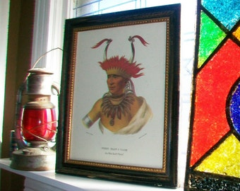 Native American Portrait Chon-Man-I-Case Vintage Lithograph C B King