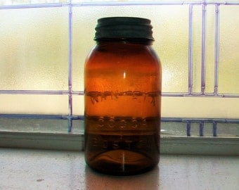 Wan-Eta Cocoa Boston Brown Amber Quart Jar Vintage 1930s