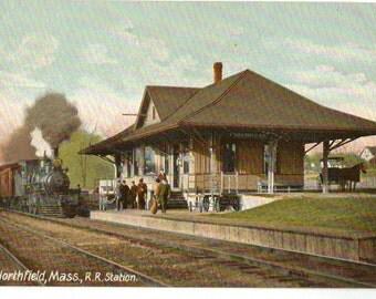 Vintage Postcard, Northfield, Massachusetts, Railroad Station, ca 1910