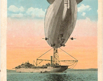 Linen Postcard, Dirigible Airship Moored to USS Patoka, Lakehurst, New Jersey, ca 1925