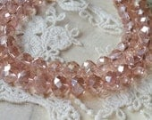 8 x 10 mm 48 Faceted Cut Rondelle AB Pink Glass / Crystal / Lampwork Beads / Electroplate bead (.tmh)